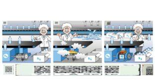 Elektromotor Fördertechnik Wassertransport im Bild das Wasserflaschen Förderband